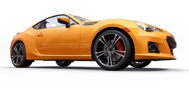 Cupê de carro esportivo pequeno amarelo Foto Premium