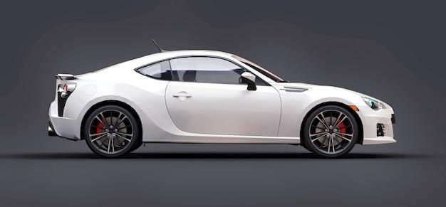 Cupê de carro esportivo pequeno branco. renderização em 3d. Foto Premium