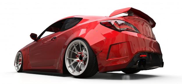 Cupê de carro esportivo pequeno vermelho sobre fundo branco Foto Premium
