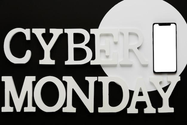 Cyber segunda-feira mensagem com celular Foto gratuita