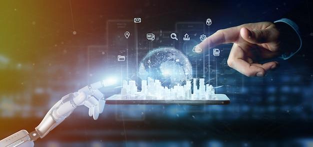 Cyborg mão segurando a interface de usuário de cidade inteligente com ícone, estatísticas e dados Foto Premium