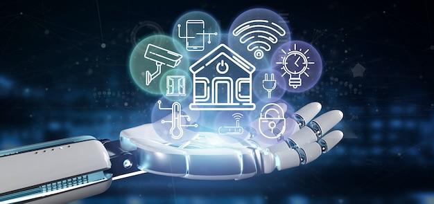 Cyborg segurando interface de casa inteligente com renderização ícone, estatísticas e dados 3d Foto Premium