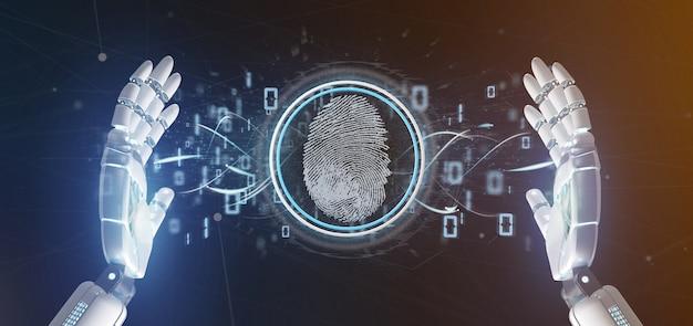 Cyborg, segurando, um, impressão digital digital, identificação, e, código binário, 3d, fazendo Foto Premium