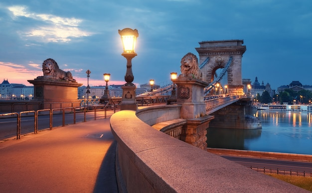 Czechenyi chain bridge, em budapeste, na hungria, ao amanhecer Foto Premium