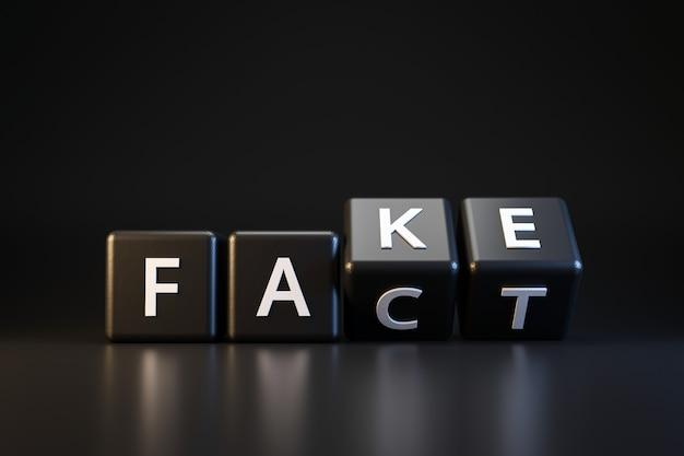 Dados e fatos pretos ou falsificados com o dia dos enganados no escuro. comunicação enganosa e mutável. dia da mentira de abril. render 3d realista. Foto Premium