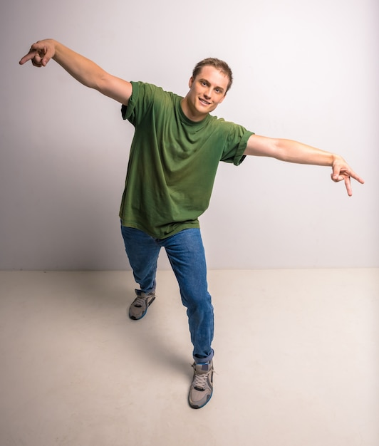 Dançarino moderno da ruptura Foto Premium