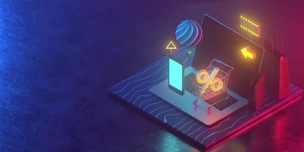 De vendas de comércio eletrônico, compras on-line, marketing digital. compras on-line isométrica telefone inteligente. 3d render. Foto Premium