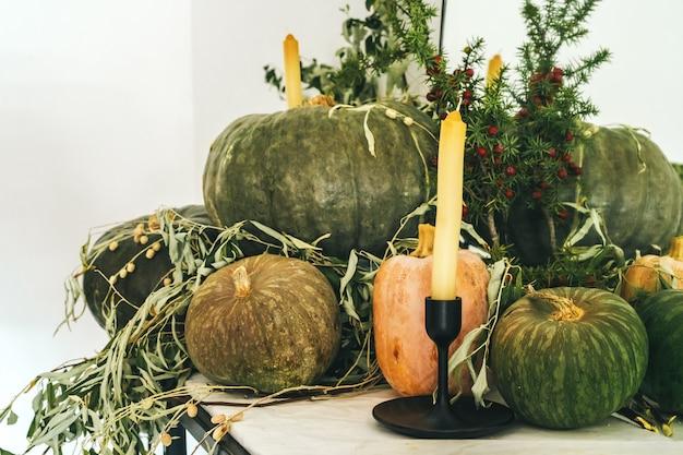 Decoração bonita mesa de outono com abóbora verde Foto Premium