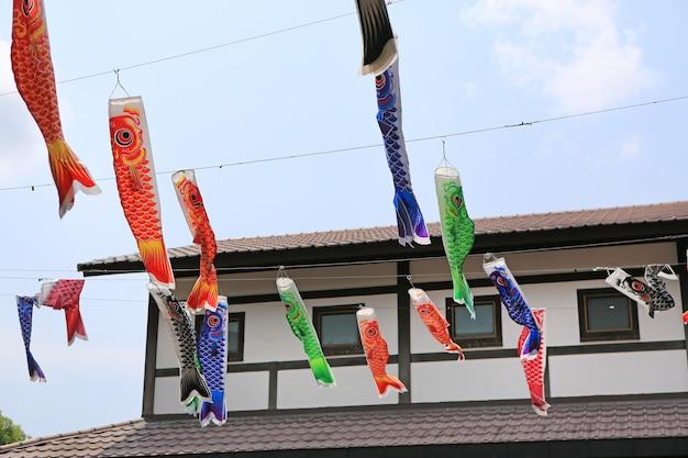 Decoração de bandeira de carpa koi japonesa soprar no vento. Foto Premium