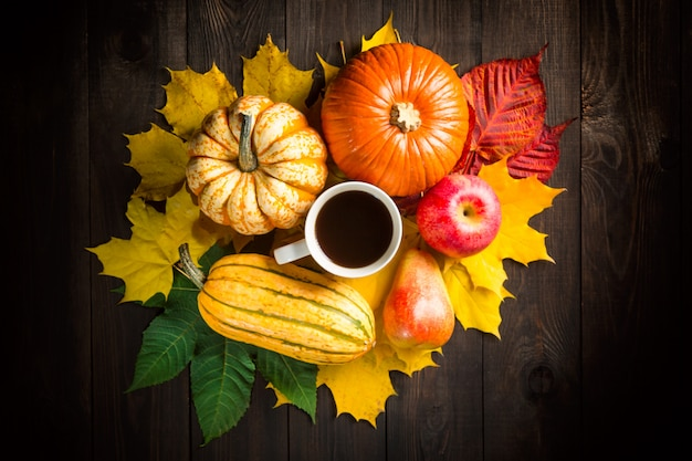 Decoração de cenário outono com abóboras, medula, maçã, pêra, xícara de café e folhas coloridas no escuro de madeira. Foto Premium