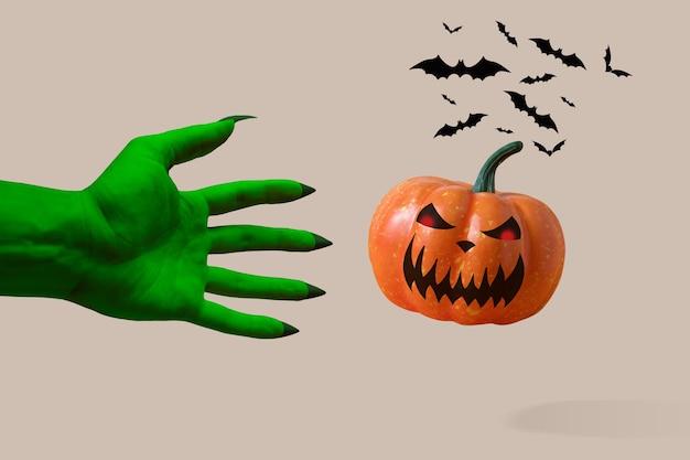 Decoração de morcego de halloween em um fundo branco Foto Premium