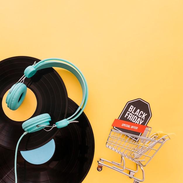 Decoração de música para sexta-feira preta Foto gratuita