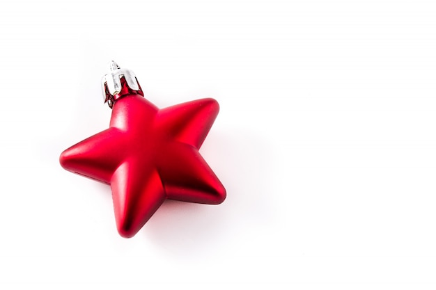 Decoração vermelha da estrela do natal isolada no branco. Foto Premium