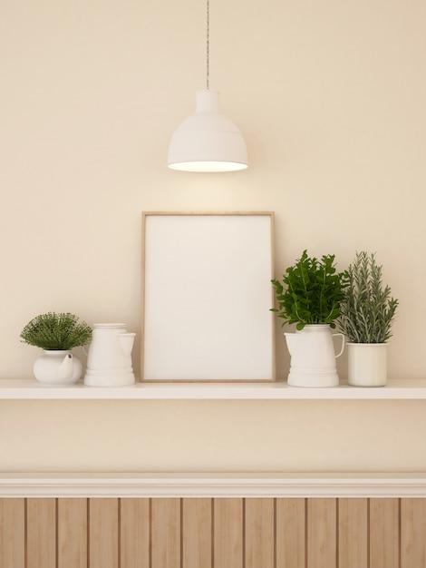 Decration de quadro e parede para renderização de obras de arte ou galeria-3d Foto Premium