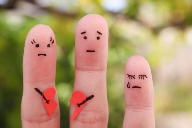 Dedos arte da família durante a briga. o conceito de pais teve briga, uma criança estava chateada. Foto Premium