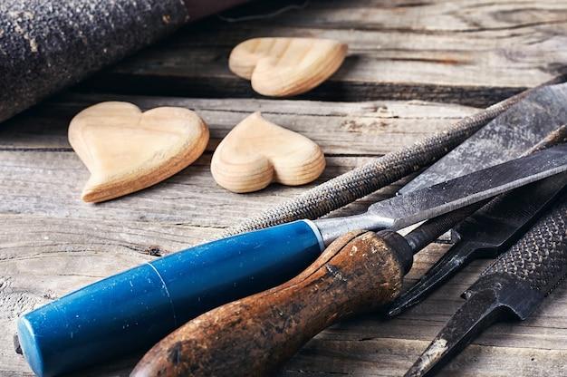 Definir ferramenta de madeira Foto Premium
