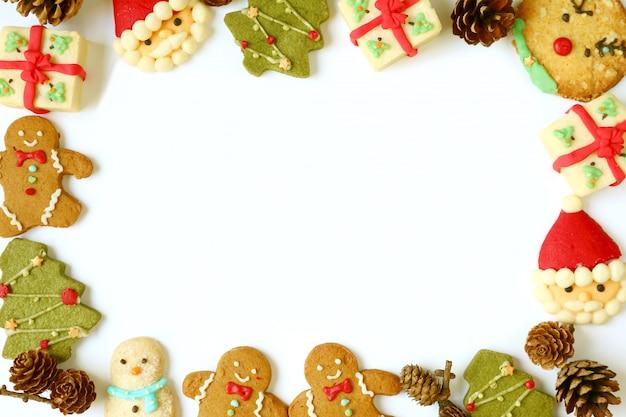 Delicioso porta-retrato de variedade de biscoitos de natal Foto Premium