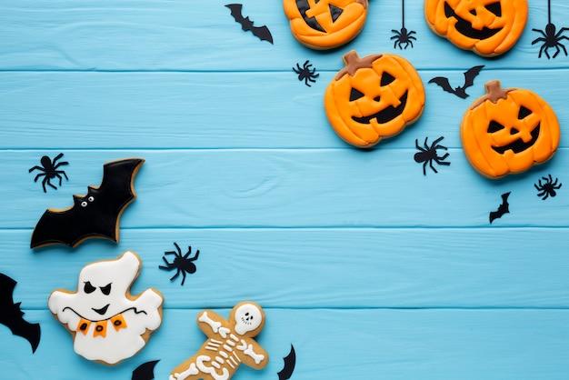 Deliciosos biscoitos de abóbora de halloween Foto gratuita