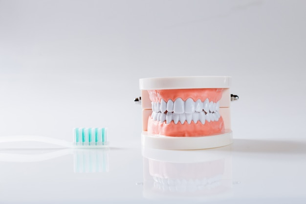 Dental, conceito, equipamento saudável, ferramentas, cuidado dental Foto Premium