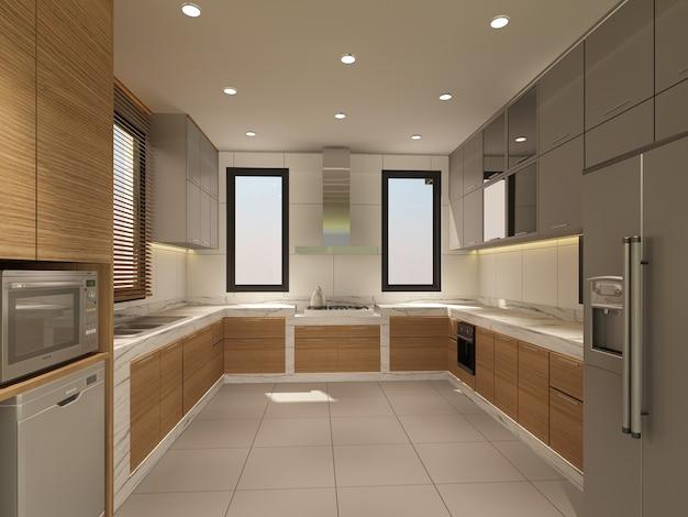 Desenho abstrato de cozinha interior, renderização em 3d Foto Premium