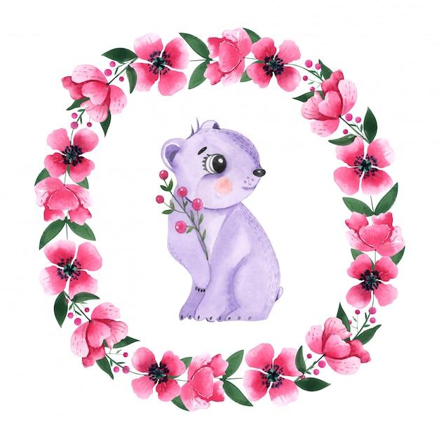 Desenho Aquarela Urso Animal Entre O Quadro Redondo Floral Foto