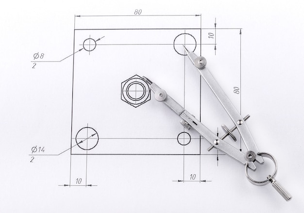 Desenho de engenharia e divisores de metal Foto Premium