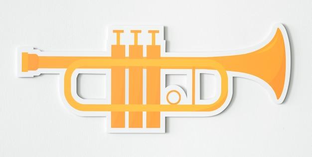 Desenho, de, um, dourado, trompete Foto gratuita