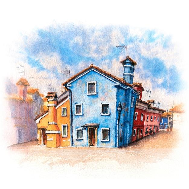 Desenho em aquarela de casas coloridas e igreja Foto Premium