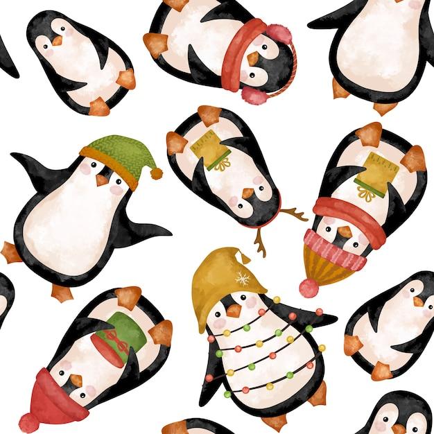 Desenho em aquarela de pinguins de natal Foto Premium