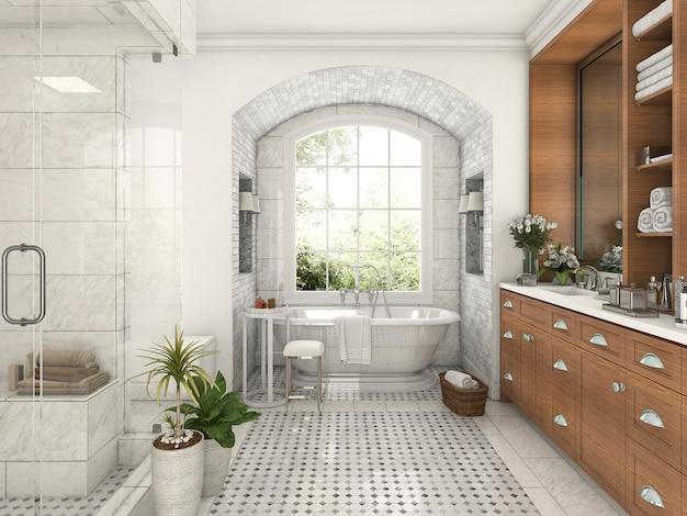 Desenho, madeira, e, azulejo, desenho, banheiro, perto, janela, com, arco, parede tijolo Foto Premium