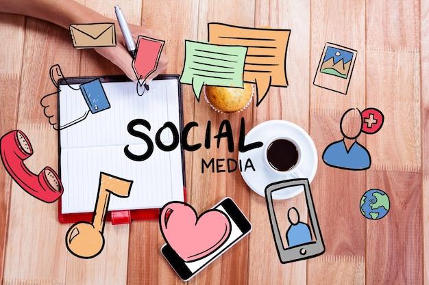 Desenhos de conceitos da mídia social Foto gratuita