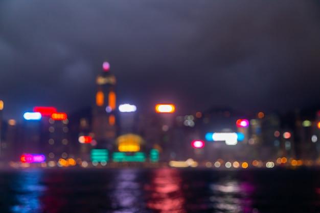 Desfoque abstrato e desfocado cidade de hong kong Foto Premium