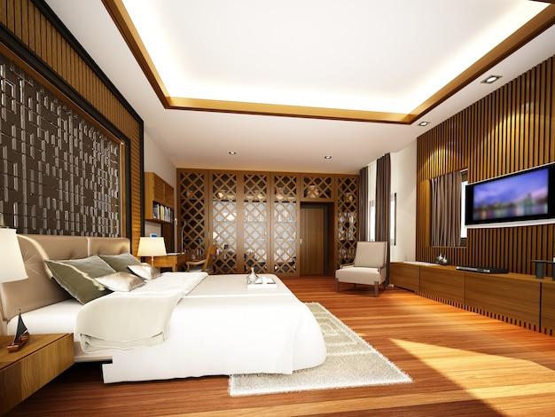 Design da sala de estar interior, renderização em 3d Foto Premium