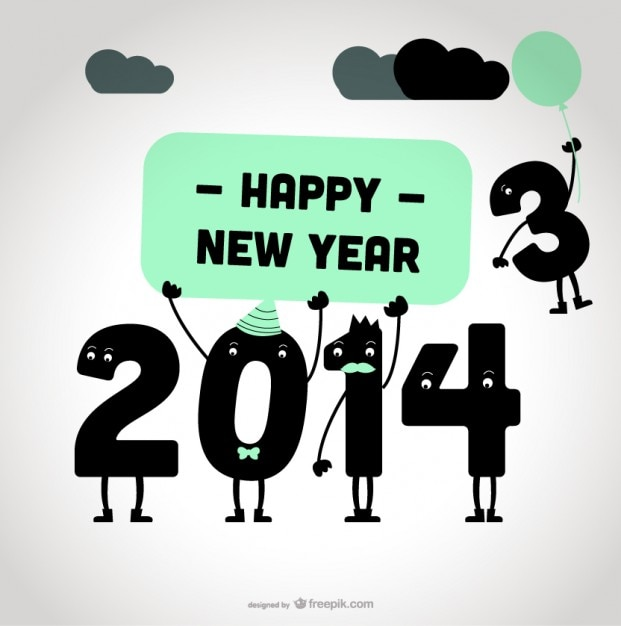 Design de cartão de mensagem de feliz ano novo 2014