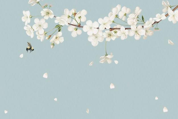 Design de cartão floral branco em branco Foto gratuita