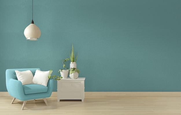 Design de interiores azul sala de estar. Foto Premium