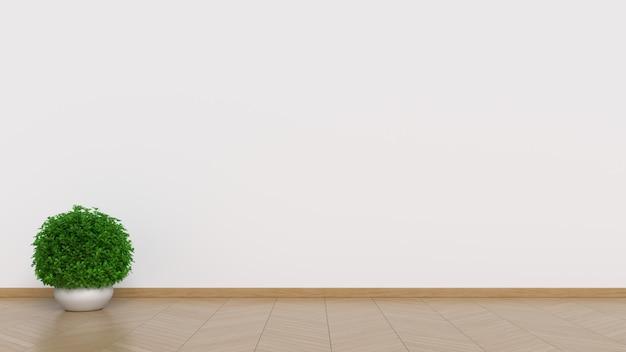 Design de interiores branco com plantas no chão Foto Premium