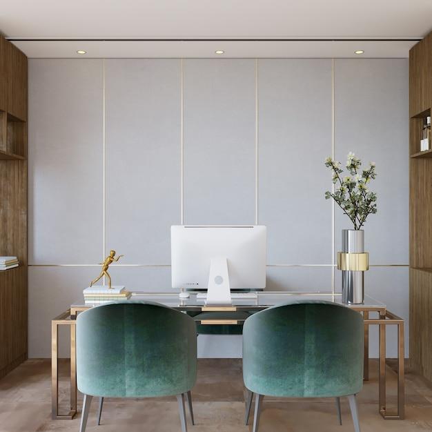 Design de interiores com cadeira e mesa no escritório Foto Premium