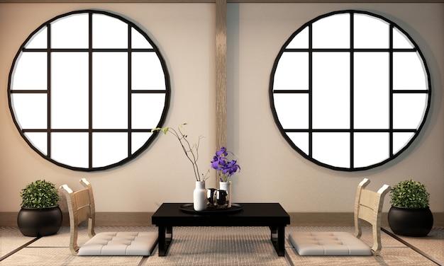 Design de interiores da sala de ryokan no piso de tatami, renderização em 3d Foto Premium