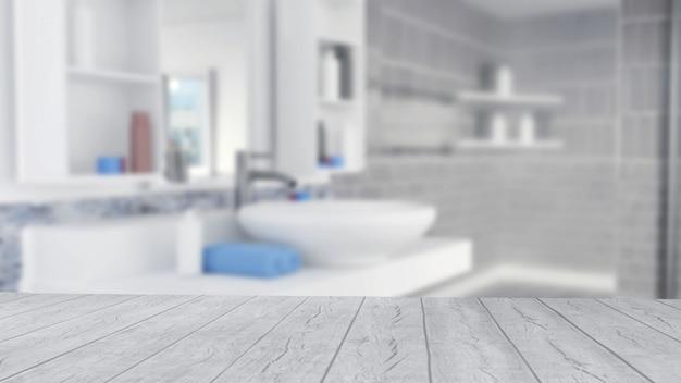 Design de interiores de banheiro com toalhas azuis e piso de madeira vazio Foto Premium