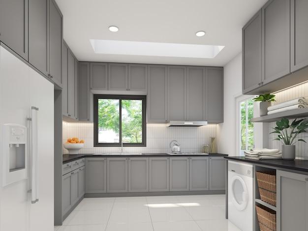 Design de interiores de cozinha, renderização em 3d Foto Premium