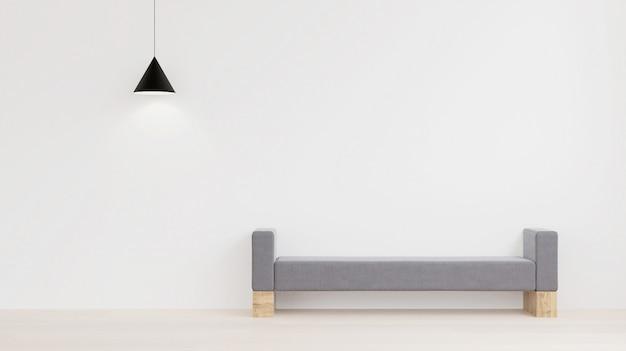 Design de interiores de estilo minimalista, parede branca, tecido e sofá de madeira Foto Premium