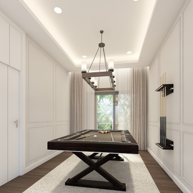 Design de interiores de sala de sinuca. renderização 3d Foto Premium