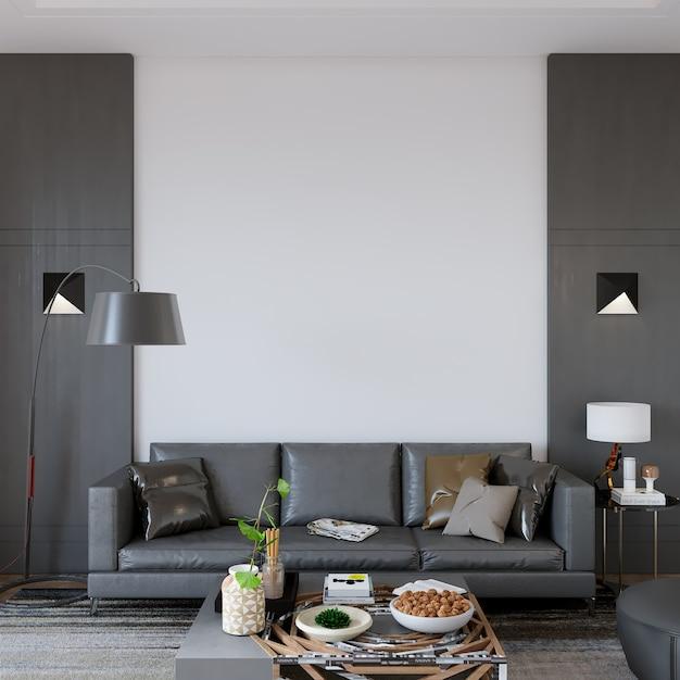 Design de interiores de salas de estar com móveis Foto Premium
