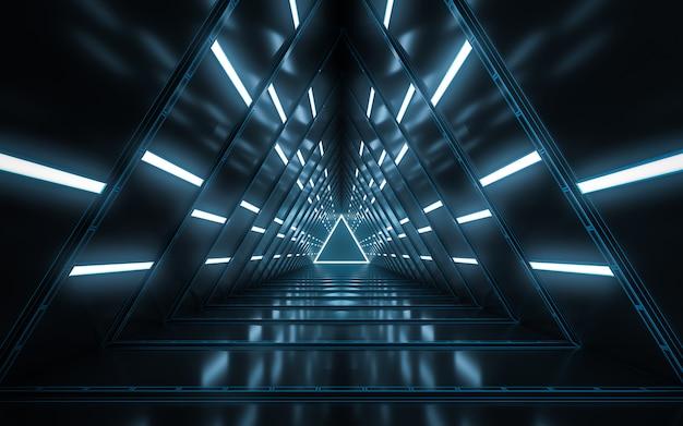 Design de interiores do corredor vazio iluminado abstrato Foto Premium