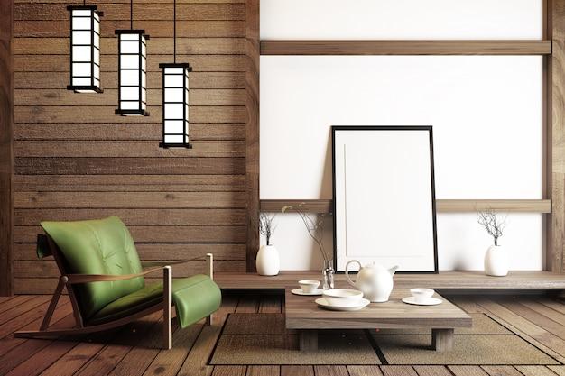 Design de interiores estilo japonês. renderização 3d Foto Premium
