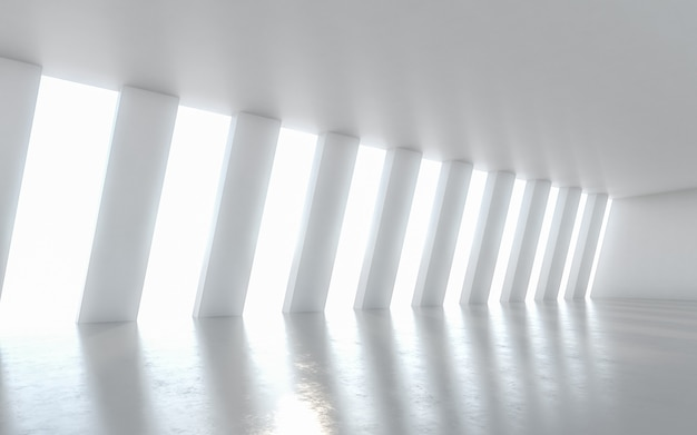 Design de interiores iluminado vazio abstrato do corredor. renderização em 3d. Foto Premium