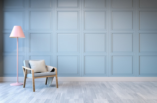 Design de interiores minimalista, poltrona verde claro com abajur rosa Foto Premium