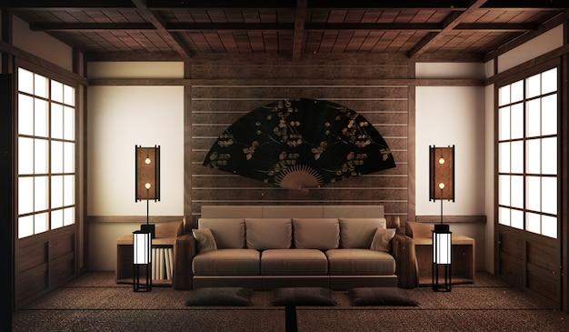 Design de interiores, moderna sala de estar com sofá no tapete de tatami e japonês tradicional Foto Premium