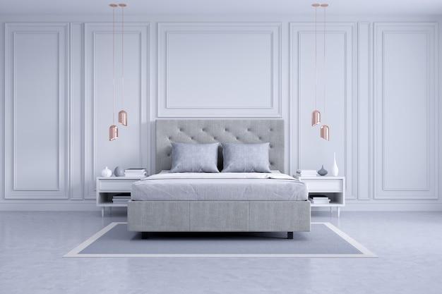 Design de interiores moderno e clássico quarto, conceito de quarto branco e cinza Foto Premium